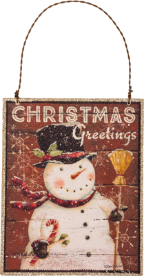 "Christmas Ornament - ""Christmas Greetings With A Snowman Ornament"""