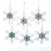 "Christmas Ornament  - ""Clear Snowflake with Aqua & Blue Center and Silver Gem Ornament"""