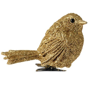 "Christmas Ornament - ""Clip On Bird"" - Gold"