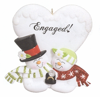 "Christmas Ornament - ""Engaged Snowman Couple Ornament"""