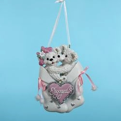 "Christmas Ornament  - ""Engaged White Bears In Stocking"""