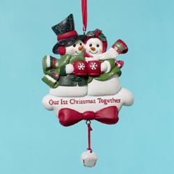 "Christmas Ornament - ""First Christmas Together - Snowman"""