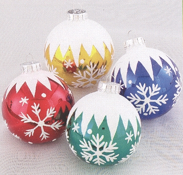 "Christmas Ornament  - ""Glass Snowflake Ball Ornaments"" - Box of 4"