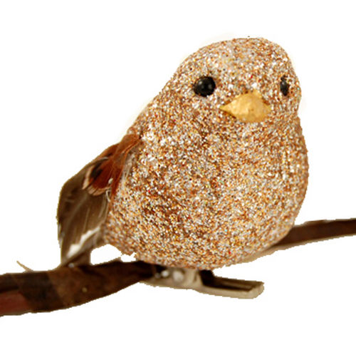 "Christmas Ornament - ""Clip On Glitter Bird Ornament"""