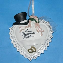 "Christmas Ornament - ""Heart withTop Hat & Veil First Christmas Together Ornament"""