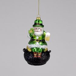 "Christmas Ornament - ""Irish Santa On A Money Pot Ornament"""
