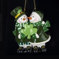 "Christmas Ornament - ""Irish Snowman Couple Ornament"""