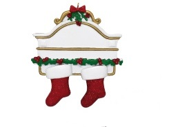 """Christmas Ornament - """"Mantle With 2 Stockings Ornament"""""""
