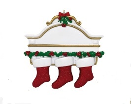 """Christmas Ornament - """"Mantle With 3 Stockings Ornament"""""""
