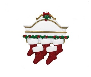 """Christmas Ornament - """"Mantle With 5 Stockings Ornament"""""""