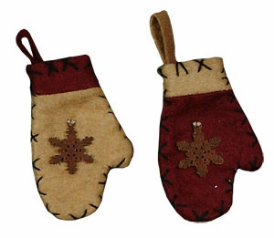 "Christmas Ornament - ""Mini Wool Mitten Ornaments"" - Set of 12"