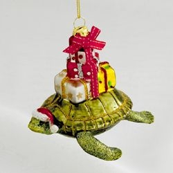 "Christmas Ornament  - ""Nobel Gems Glass Turtle with Gifts Ornament"""