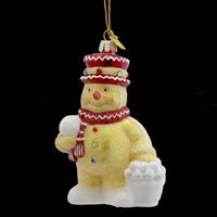 "Christmas Ornament - ""Noble Gems Glass Gingerbread Snowman Ornament"""