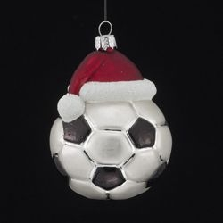 """Christmas Ornament  - """"Noble Gems Glass Soccer Ball with Santa Hat Ornament"""""""