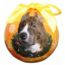 "Christmas Ornament - ""Pit Bull"" - Brindle/White"