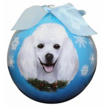 "Christmas Ornament - ""Poodle"" - White"