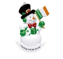 "Christmas Ornament - ""Proud To Be Irish Snowman Ornament"" - Can be personalized"
