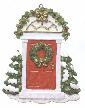 """Christmas Ornament - """"Red Door With Trim"""""""