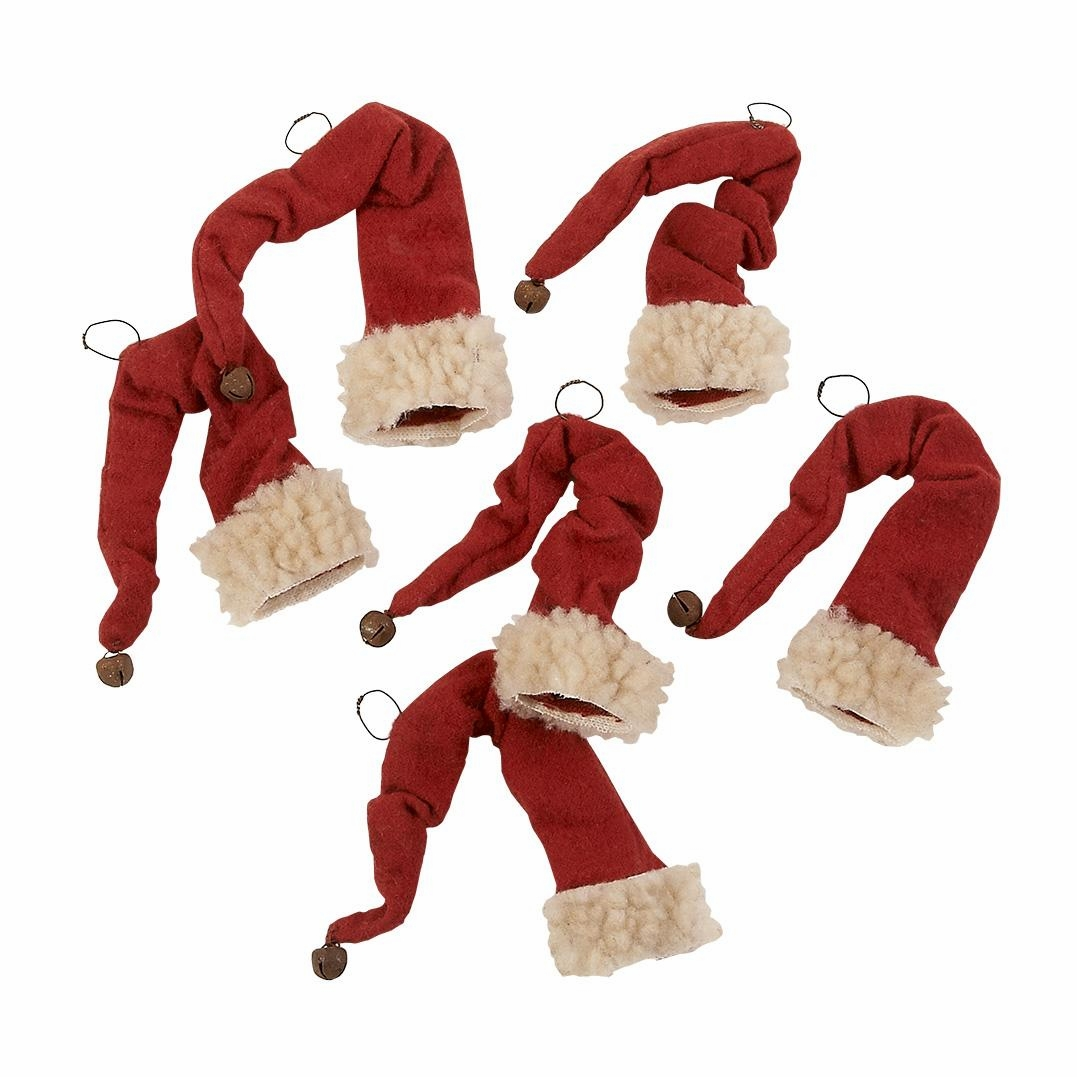 "Christmas Ornament - ""Red Stocking Hats Ornaments"" - Set of 6"