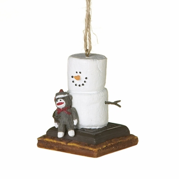 """Christmas Ornament - """"S'mores With A  Sock Monkey Ornament"""""""