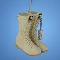 """Christmas Ornament - """"U.S.Army Flocked Combat Boots"""""""