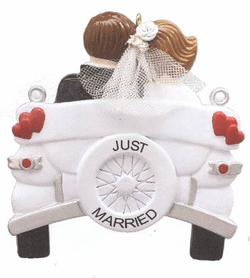 """Christmas Ornament   - """"Wedding Car....Just Married Ornament"""""""