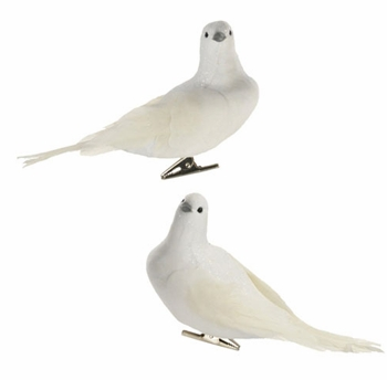 "Christmas Ornament - ""White Clip-On Feathered Dove Ornament"""