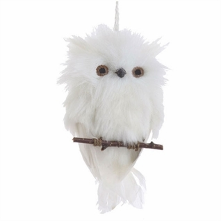 "Christmas Ornament - ""White Owl On Branch Ornament"""