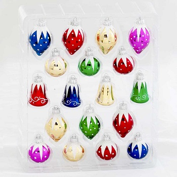 """Christmas Ornaments - """"Glass Ball & Bell Ornaments"""" - Set of 18"""