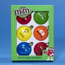 "Christmas Ornaments - ""M&M� Glass Ornaments"" - Box of 6"