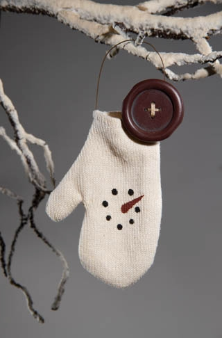 "Christmas Ornaments - ""Snowman Mitten Ornament"""