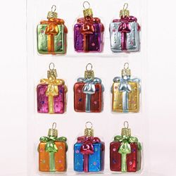 """Christmas Ornnaments - """"Gift Boxes"""" - Set of 9"""
