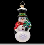 "Christopher Radko Glass Ornament - ""Flakey The Snowman"""