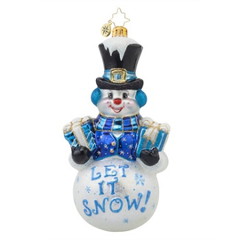 "Christopher Radko Glass Ornament - ""Frosty Greetings"""