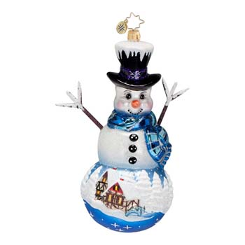 "Christopher Radko Glass Ornament - ""Frosty Memory Lane Ornament"""