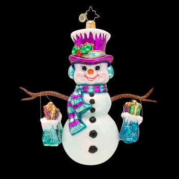 "Christopher Radko Glass Ornament - ""Frosty Shopper Ornament"""