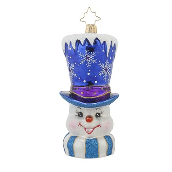 "Christopher Radko Glass Ornament - ""Frosty Topper"""