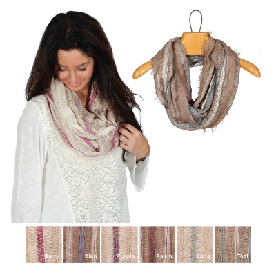 Color Stripe Infinity Scarf