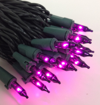 Mini Bulb String Lights - Purple - Electric/Green Cord - Commercial Grade Indoor/Outdoor - Set of 50