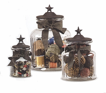 """Decorative Containers - """"Black Star Glass Jars"""""""