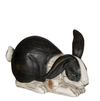 "Decorative Figurine - ""Black & White Laying Bunny Figurine"" - 3"""