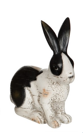 "Decorative Figurine - ""Black & White Sitting Bunny Figurine"" - 5.5"""