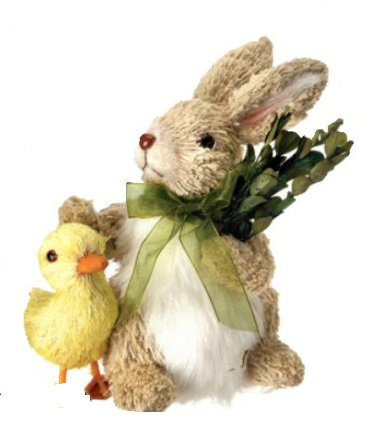 "Decorative Figurine - ""Bunny With Duckling Standing"""