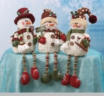 "Decorative Figurine  - ""Button Leg Snowman Sitter"""