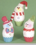 "Decorative Figurine - ""Cupcake Snowman With Light"""