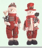 "Decorative Figurine  - ""Large Plush Standing Snowman"" - NEW"