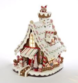 "Decorative Figurine - ""Lighted Gingerbread House"" - 12"""