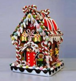 "Decorative Figurine - ""Lighted Gingerbread House"""