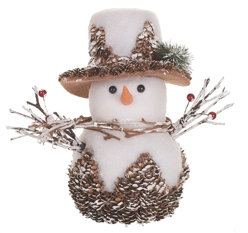 "Decorative Figurine - ""Pine Cone Snowman""  10.5"""