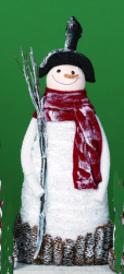 "Decorative Figurine - ""Pine Cone Snowman"" - Large"
